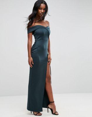 ASOS Scuba Bardot Wrap Maxi Dress