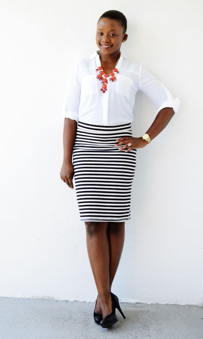 Striped pencil skirt, white button up, coral necklace
