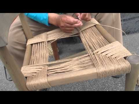 How to Weave a Seat in a Rush Chair - YouTube