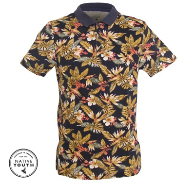 Hawaian print polo by Native Youth