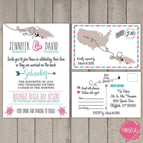 Tropical Island Destination Travel Wedding Invitation Rsvp Postcard By Weddingplanning