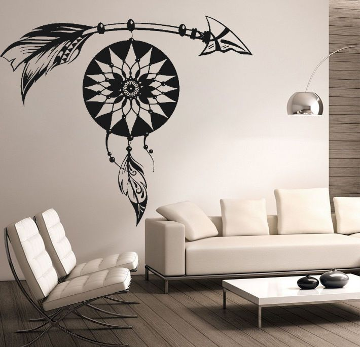 Arrow Decal Dream Catcher Wall Decals Feather Vinyl Sticker Home Boho Decor  DR96