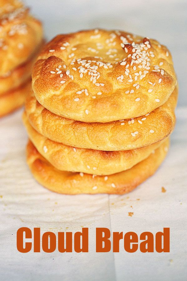 Delicious, fluffy cloud bread is the perfect low carb and keto bread alternative. Great for sandwiches, burgers, even desserts! via @healthyrecipes