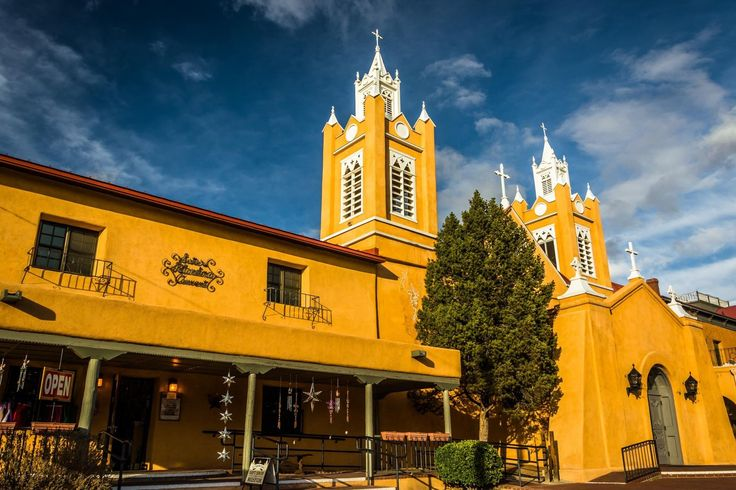 Evening light on San Felipe Neri Church, in Old Town, Albuquerque, New Mexico.