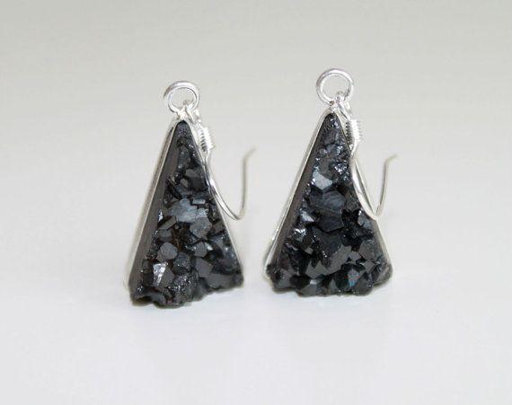 SALE 15 Silver framed black titanium druzy earrings. by GSGjewelry, $45.00