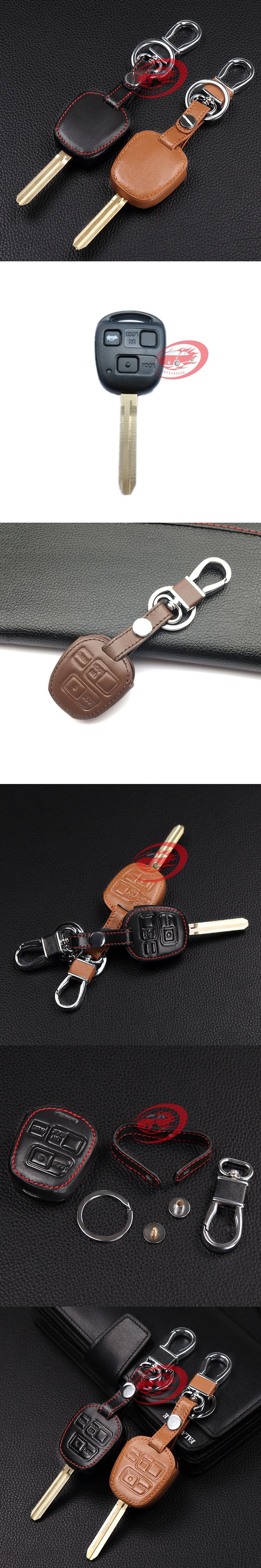 Hot sale classic design 100% genuine leather car key cover for Toyota Tarago RAV4 Corolla 3 Buttons remote control starline a91