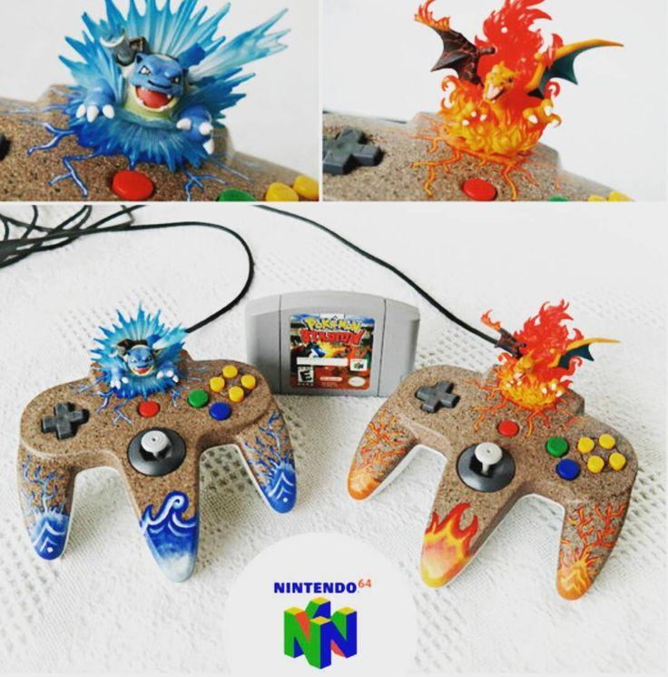 Nintendo 64 controllers Pokemon customized edition!! Simply amazing!!   #nintendo #ninstagram #nintendolife #nintendofan #igersnintendo