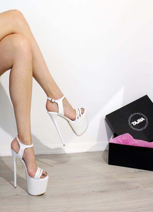 37dfc6489d4 White Strapped Super High Heel Wedding Platform Shoes