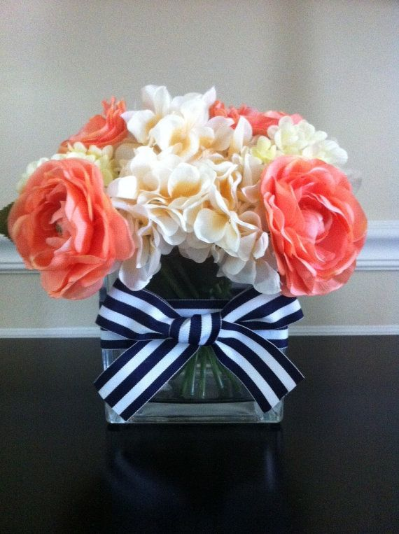 Using real flowers, though...  Nautical Wedding Centerpieces by LoveNautical on Etsy, $25.00