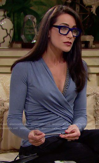 Quinn's blue wrap top with chain detail on The Bold and the Beautiful.  Outfit Details: https://wornontv.net/65717/ #TheBoldandtheBeautiful