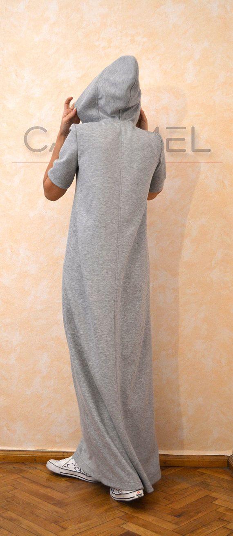 Kapuzen-Sweatshirt-Kleid lange Maxi Kaftan Kleid Seite