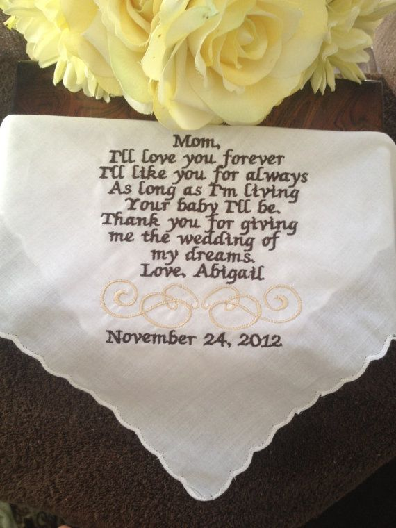 Embroidered Mothers of the Bride Handkerchief by EmbroideryByLina, $20.00