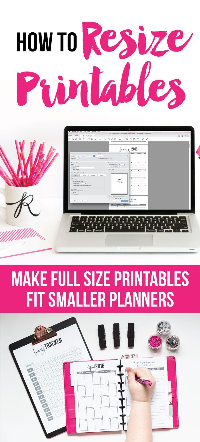 It is possible to resize full size printables to fit in smaller planners! I'll walk you through exactly how to do it in a video tutorial. That way you can take any printable and shrink it down to fit on a smaller page.