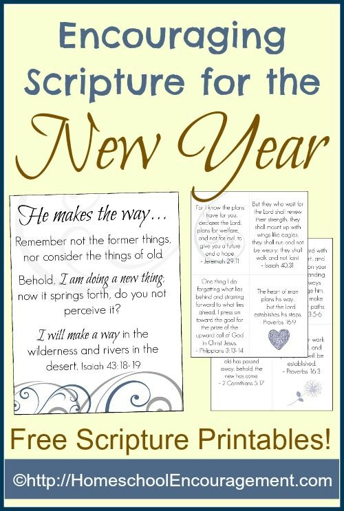 Printable encouraging scripture for the New Year - scripture cards and poster. | ProverbialHomemaker.com