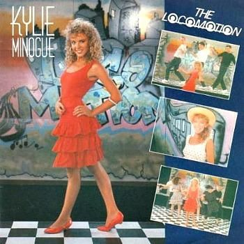 """Kylie Minogue in a three tier ra-ra skirt on the cover of her 80s single """"The Locomotion"""""""