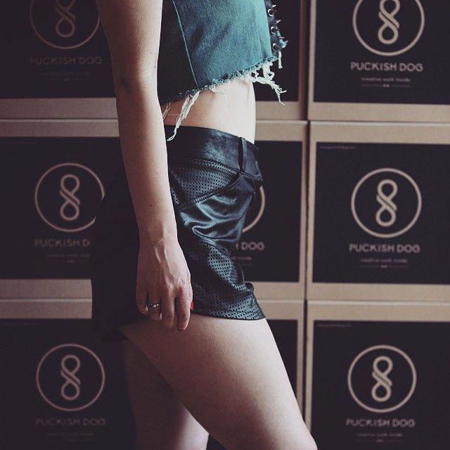 #shorts #puckishdog #streetwear #fashion #girl #laser #lasercut #allblack #label