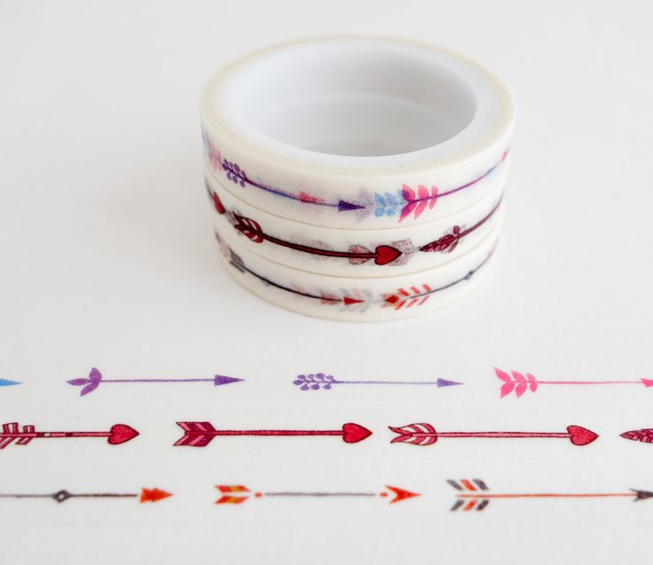Set of 3 rolls of mini washi masking tapes with arrow patterns. Great for travel journals, scrapbooking, gift wrapping, decorating cards and envelopes and more! Add a little dash of cuteness to any cr