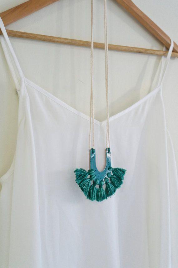 Polymer clay tassel necklace in teal blue by Kelaoke on Etsy