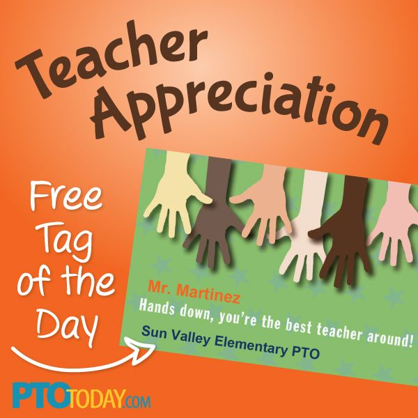 Teacher Appreciation gift tag from the PTO Today File ...