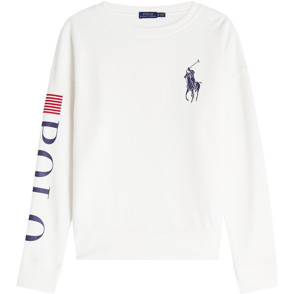 Polo Ralph Lauren Sweatshirt (2.118.240 IDR) ❤ liked on Polyvore featuring tops, hoodies, sweatshirts, white, layered tops, preppy sweatshirts, polo ralph lauren, white top and double layer top