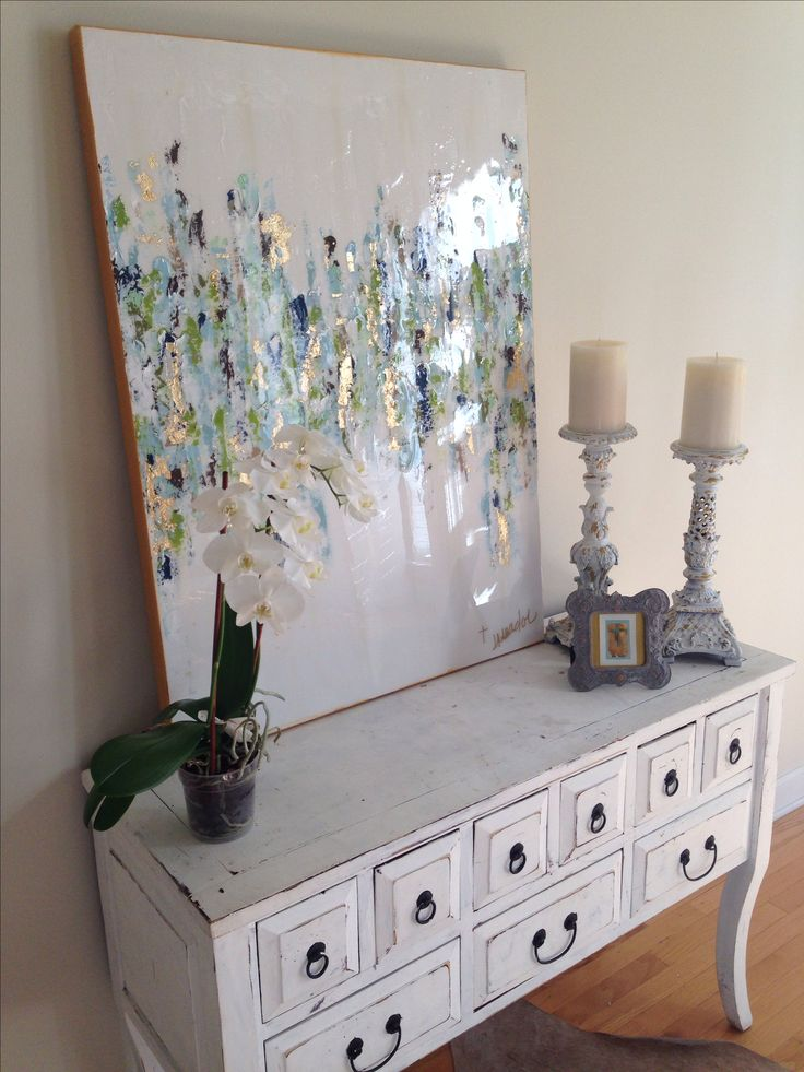 """Abstract art by Jenn Meador the """"Corey"""" with greens"""