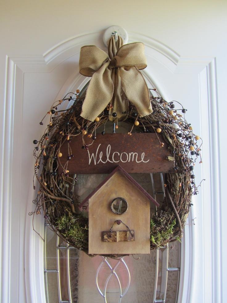 Birdhouse Wreath - Fall Wreath - Autumn Wreath - Country Wreath - Berry Wreath.