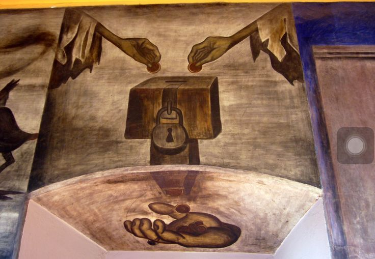 """This art piece was created by Jose Clemente Orozco. It is called """"Reaching Out."""" This art piece was created in 1924 in Mexico City, Mexico.  I think the message of this image is to help the people that are indeed.  José Clemente Orozco was a painter who helped lead the revival of Mexican mural painting in the 1920s. His works are complex and often tragic.  http://www.wikiart.org/en/jose-clemente-orozco/reaching-out-1924 http://www.biography.com/people/jos-clemente-orozco-9429586"""