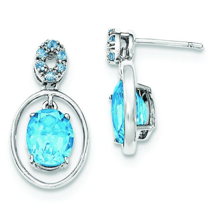 Sterling Silver Lt. Swiss Blue Topaz Post Dangle Earrings