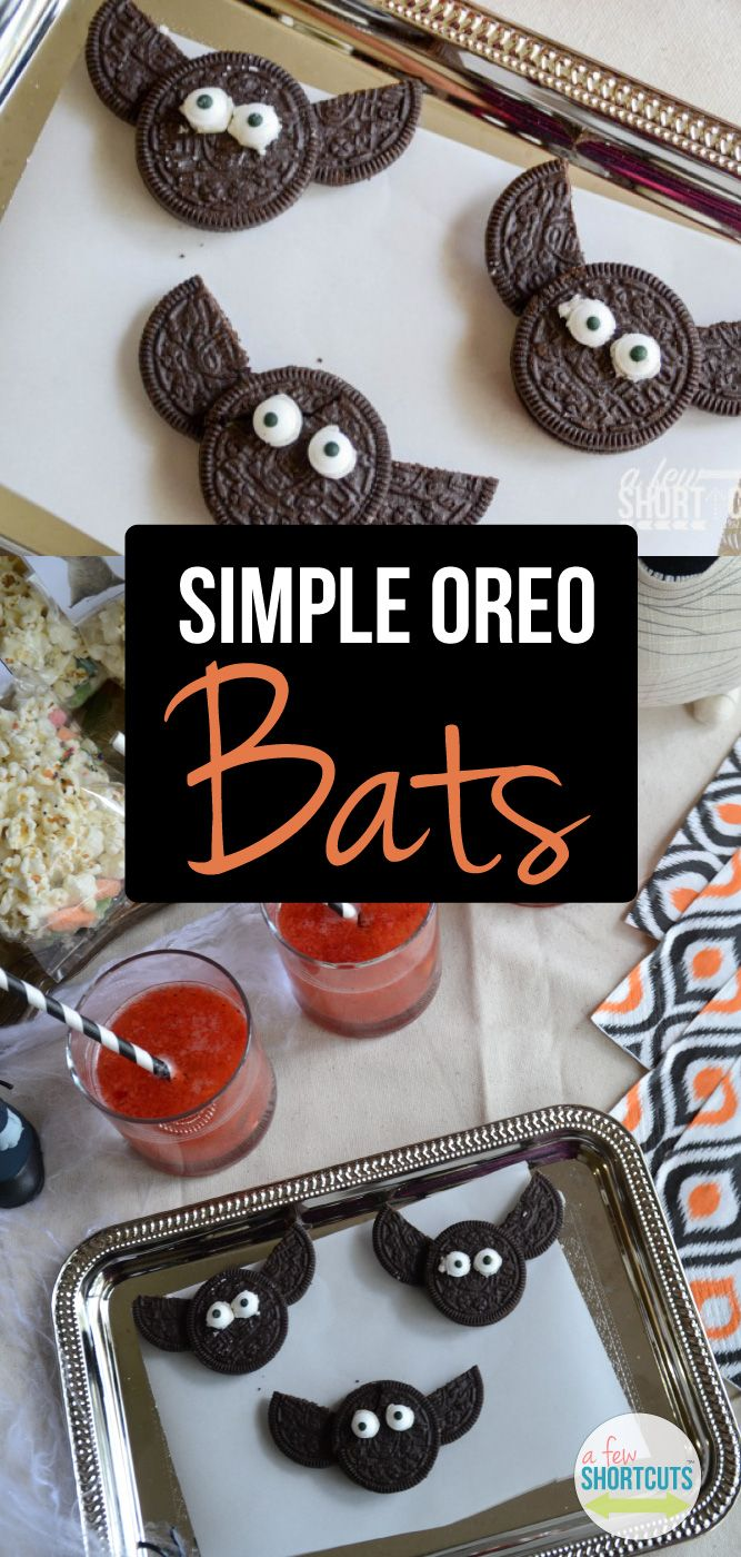 Please tell me I am not the only one who doesn't want to spend 5 minutes decorating a cookie just to watch it gobbled down in seconds. These Simple OREO Bats are just that....SIMPLE! They take only a few minutes to make and the kids LOVE them! They are pe