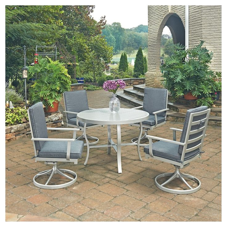 South Beach 5 Pc. Round Outdoor Dining Table And 4 Swivel Rocking Chairs - Grey - Home Styles