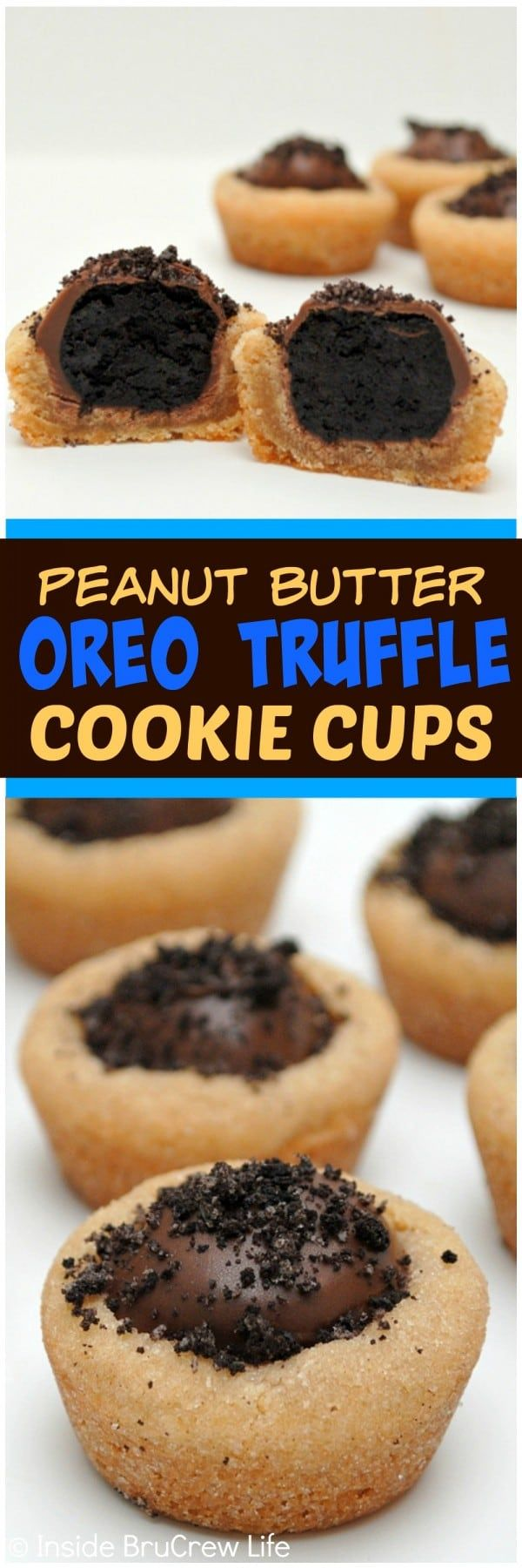 Peanut Butter Oreo Truffle Cups - adding an Oreo truffle to the top of these soft peanut butter cups is an awesome idea! Great dessert recipe!