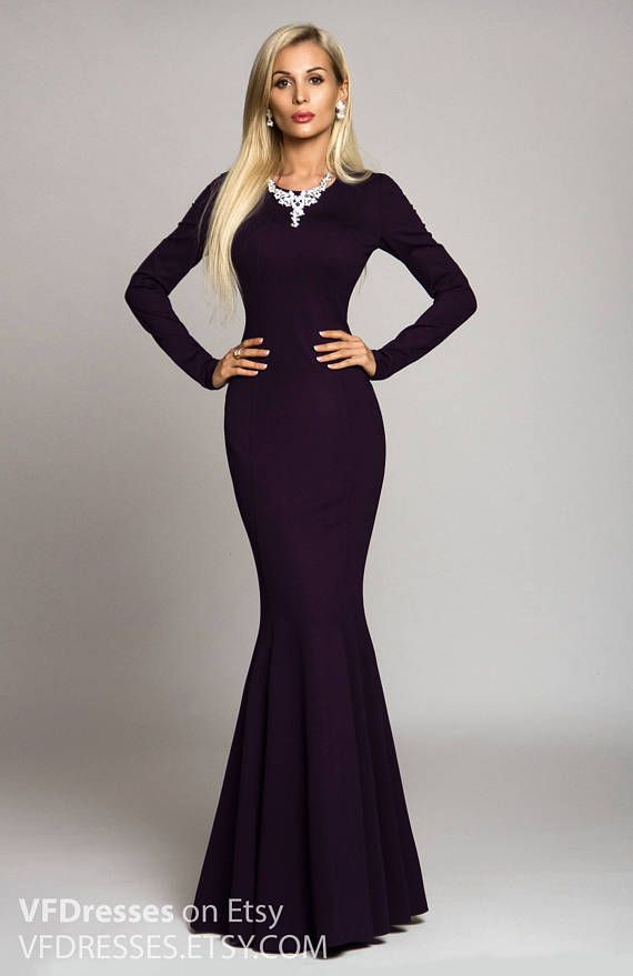 """Dark purple evening #dress in mermaid  style   Autumn - Spring Long red dress with long sleeve from the collection """"Desire""""  2017  This dress perfect for Spring and Autumn s... #dresses #summer #eveningdress #fashion #vogue #handmade #etsy #gowns"""