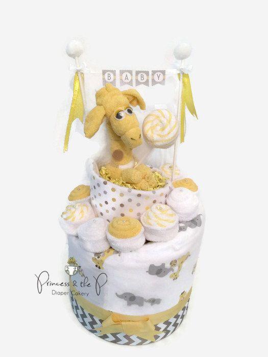2 Tier Sweet Treats Diaper Cake, safari baby shower, jungle baby shower, giraffe, yellow, Topsy Turvy diaper cake, by PrincessAndThePbaby