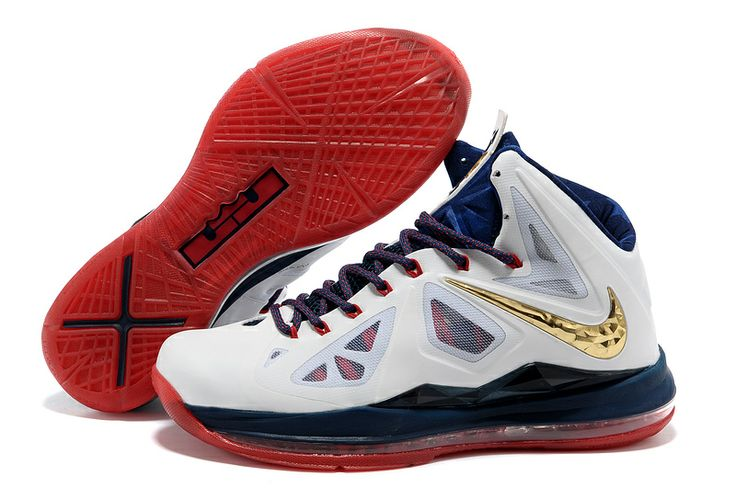 Nike LeBron 10 X White Navy Gold Varsity Red Style Code:541100-001