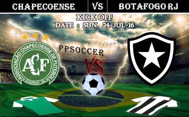 Chapecoense AF vs Botafogo RJ 24.07.2016 Free Soccer Predictions, head to head, preview, predictions score, predictions under/over Brazil: SERIE A