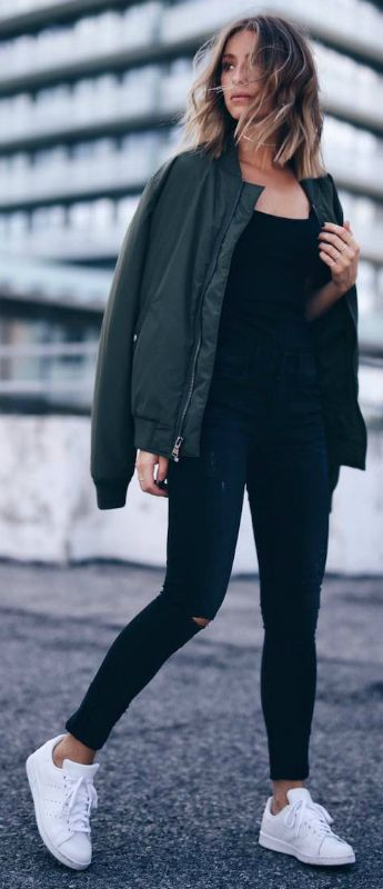 Jill Lansky + khaki bomber + all black style + tank top + high waisted jeans + bright white sneakers + ultimate contrast.   Jeans: Express, Top: One Eleven, Bomber Jacket: Express, Sneakers: Adidas.