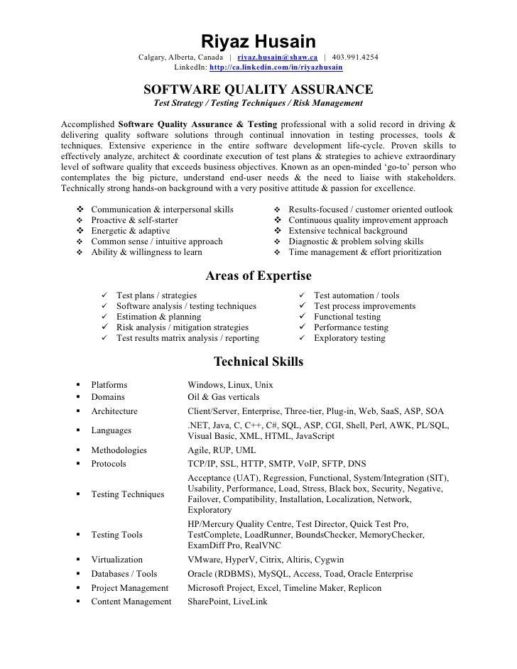 Software Quality Assurance Analyst Resume Sample Jpg 728 942 Resume Examples Resume Resume Skills