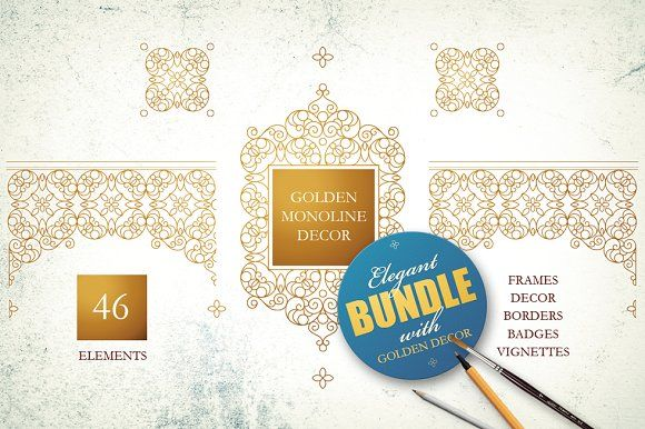 Golden Monoline Decor by O'Gold! on @creativemarket