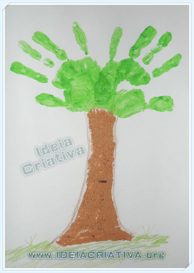 Árvore de Carimbo de Mãos Dia da Árvore, Primavera, Outono e Meio Ambiente