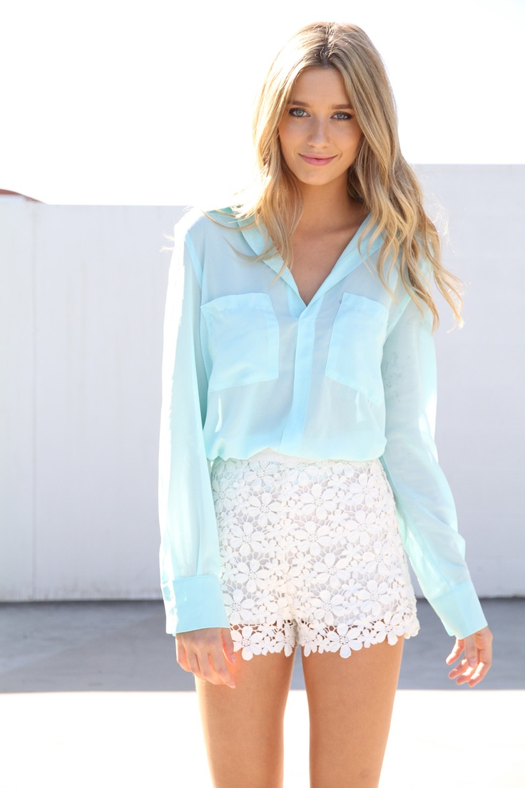 prettyBaby Blue, Fashion, Summer Outfit, Style, Shirts, White Lace, Lace Skirt, Blue Blouses, Lace Shorts