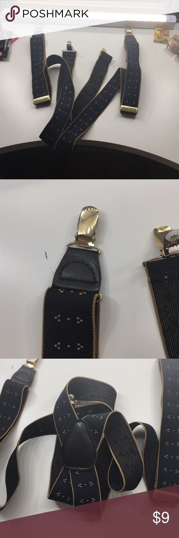 Gold and Black Suspenders These suspenders are black with a golden yellow trim. Little dot designs. Gold clips. Gold adjustable. Faux leather pieces on it. Only used once for a minion Halloween costume. Accessories Belts