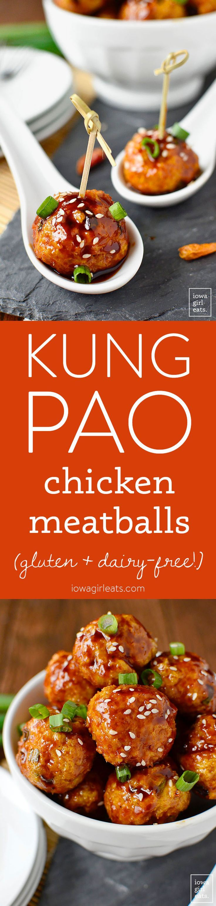 Kung Pao Chicken Meatballs are the perfect bite-sized, gluten-free game day or party appetizer! | iowagirleats.com