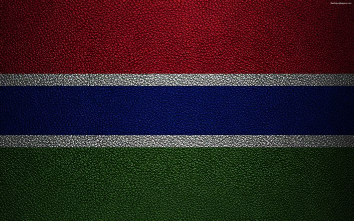 Download wallpapers Flag of Gambia, leather texture, 4k, Gambian flag, Africa, world flags, African flags, Gambia