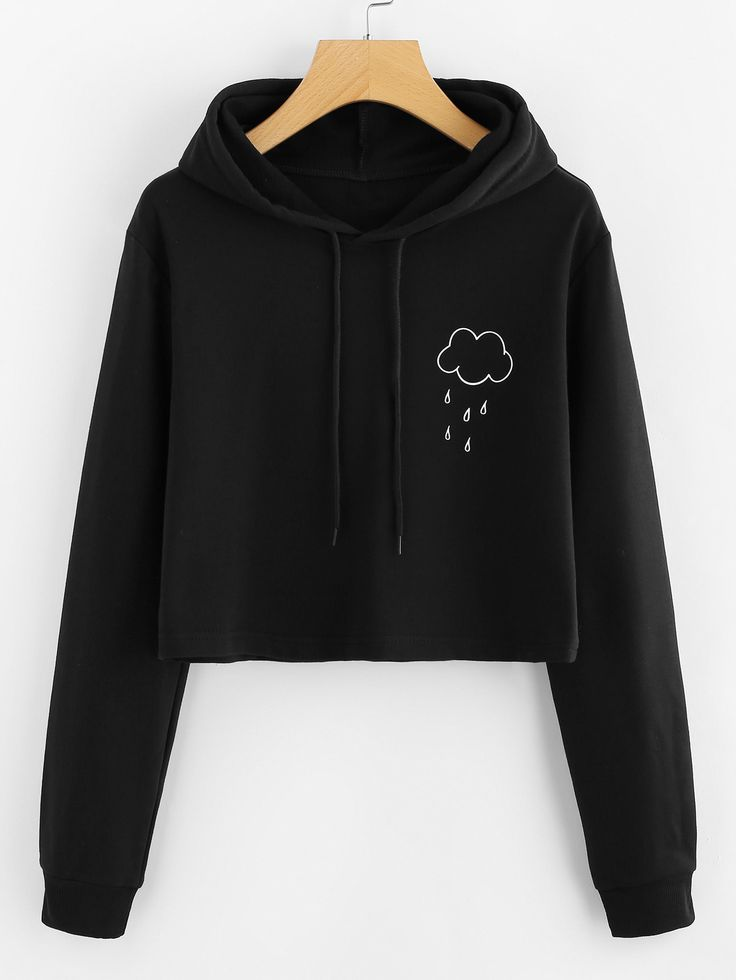Shop Rain Print Crop Hooded Sweatshirt online. SheIn offers Rain Print Crop Hooded Sweatshirt & more to fit your fashionable needs.