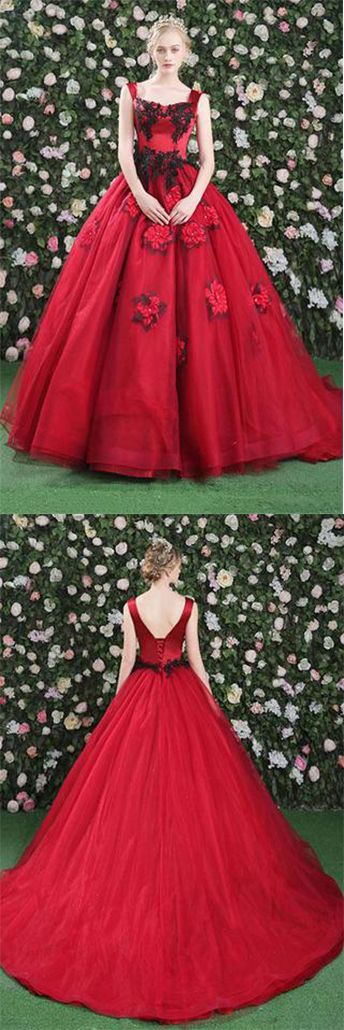 Gorgeous Ball Gowns Red Flowers Scoop Sleeveless Tulle Lace up Beads Prom Dresses uk,#weddingdress,#quinceaneradress,#promdress,#red,#ballgown,#flowers
