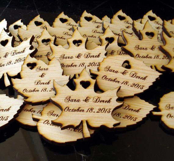 60 Wood Leaf Wedding Favors Personalized  Wood by EtchedinTimeLLC, $36.00