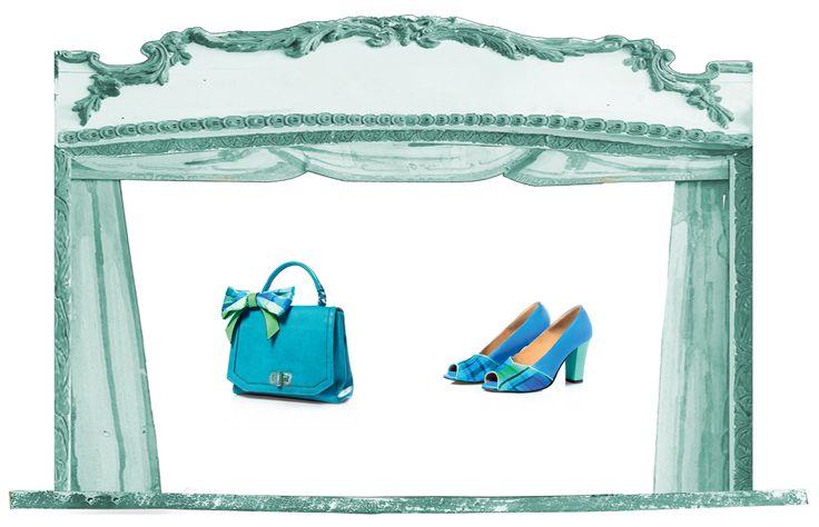 Sfere alchemiche collection spring summer 2015: scarpa e borsa Luna