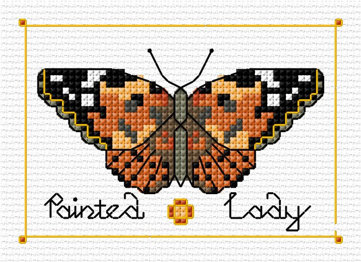 Painted Lady butterfly, designed by Lesley Teare, from her blog.