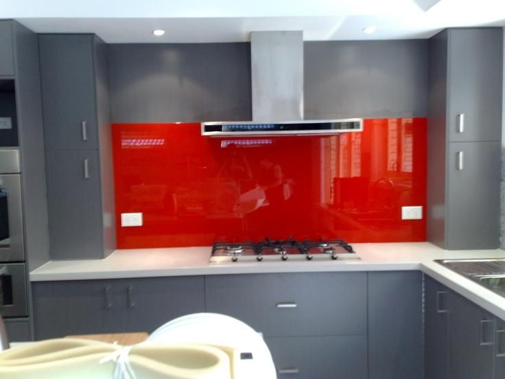 Bright Red kitchen splashback