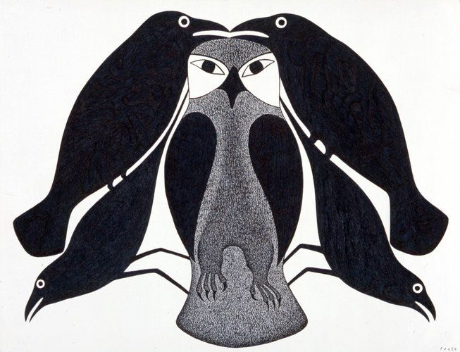 Owl Circled by Ravens by Kenojuak Ashevak